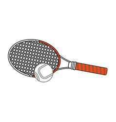 Color silhouette cartoon tennis racquet with ball vector
