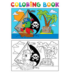 Coloring book pirate parrot theme 3 vector