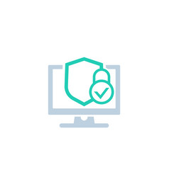 computer security icon with shield and padlock vector image