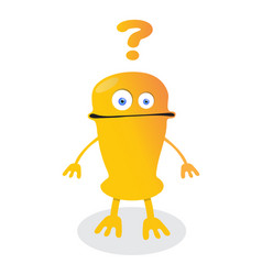 confused emoticon robot with question marks vector image