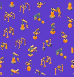 conveyor machines robotic hand seamless pattern vector image