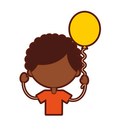 cute african boy with balloons air character icon vector image