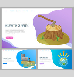 Destruction forests and water pollution website vector