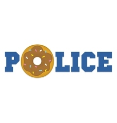 Donut police cartoon funny isolated vector image