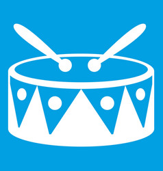 Drum and drumsticks icon white vector