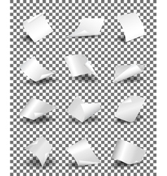 Empty paper sheets on transparent background vector image