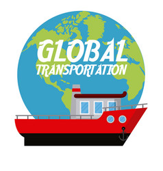 Fishing boat international transport vector