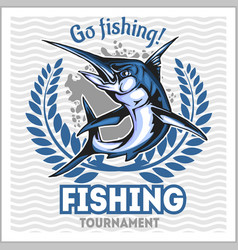 Fishing emblem with blue marlin badge and design vector