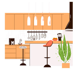 Flat modern kitchen vector