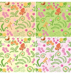 floral seamless backgrounds with nature elements vector image