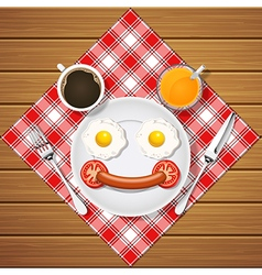 Fried egg and sausage and beverage in smiling face vector