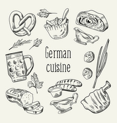 German traditional food hand drawn outline doodle vector