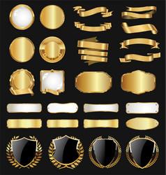 golden badge labels and laurel retro vintage vector image