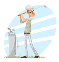 Golfer cool professional player adjusts glove vector