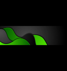 green and black abstract wavy corporate banner vector image
