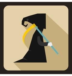 Grim reaper icon flat style vector