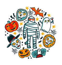 halloween design elements cartoon pumpkins mummy vector image