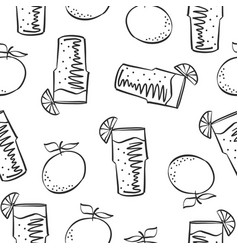 Hand draw lemon drink doodles vector