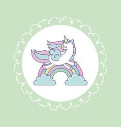 Hand drawn cute unicorn icon vector