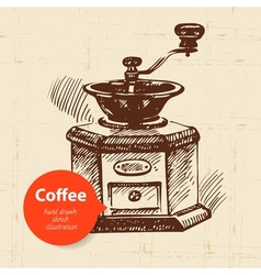 Hand drawn vintage coffee background vector image