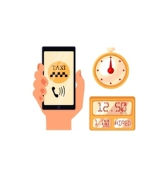 Hand holding phone with taxi calling app vector