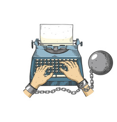 hands chained to typewriter line art sketch vector image