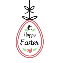 happy easter text sign on hanging easter egg with vector image