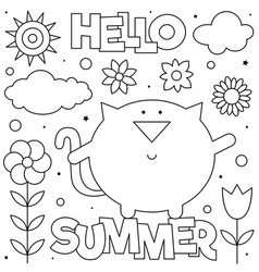 Hello summer coloring page vector