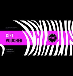 Horizontal gift voucher white stripes on black vector