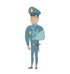injured young hispanic policeman with broken arm vector image