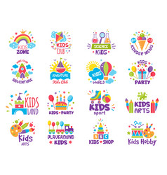 kids zone badges logos for creative place for vector image