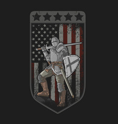 Knight full armor sword and shield american flag vector