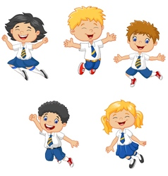 Little kids smiling and jumping together vector