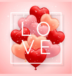 love happy valentines day red pink and orange vector image