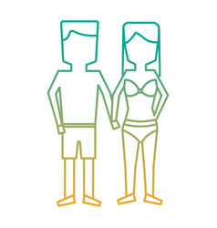 Man and woman holding hands in swimwear vector