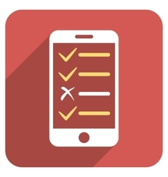 Mobile Test Flat Rounded Square Icon with Long vector