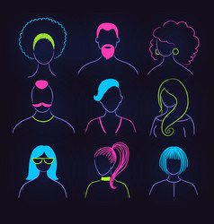 neon profile pictures faceless avatars vector image