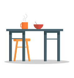 Office table with hot coffee cup and bowl of soup vector