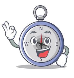 Okay compass character cartoon style vector