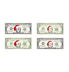 One dollar banknotes with santa claus red hat vector