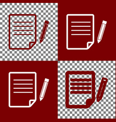 paper and pencil sign bordo and white vector image