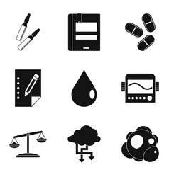 Pharmacist icons set simple style vector