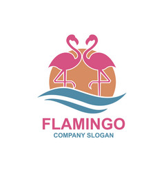 Pink flamingo emblem vector