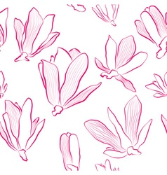 Pink Magnolia Flowers on a White Background vector image