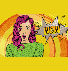 Pop art surprised woman face with open mouth vector