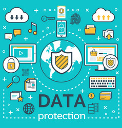 Poster for internet data protection vector