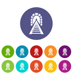 railway tunnel icons set color vector image