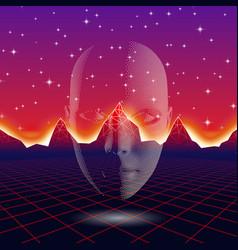 Retro wave shiny head silhouette over neon vector