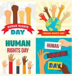 rights day banner set flat style vector image