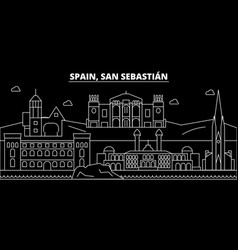 San sebastian silhouette skyline spain - san vector